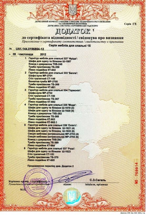 Сертифікат відповідності спальні (додаток)