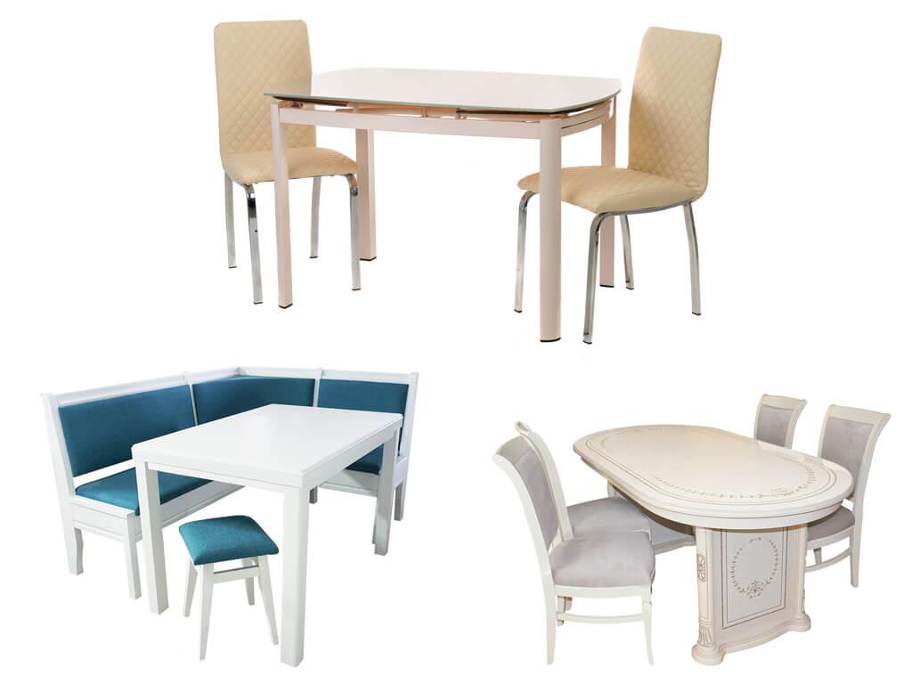 Светлые комплекты столов и стульев