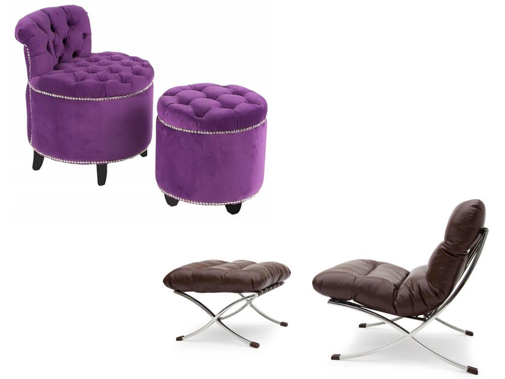 Комплект мягкое кресла с пуфом