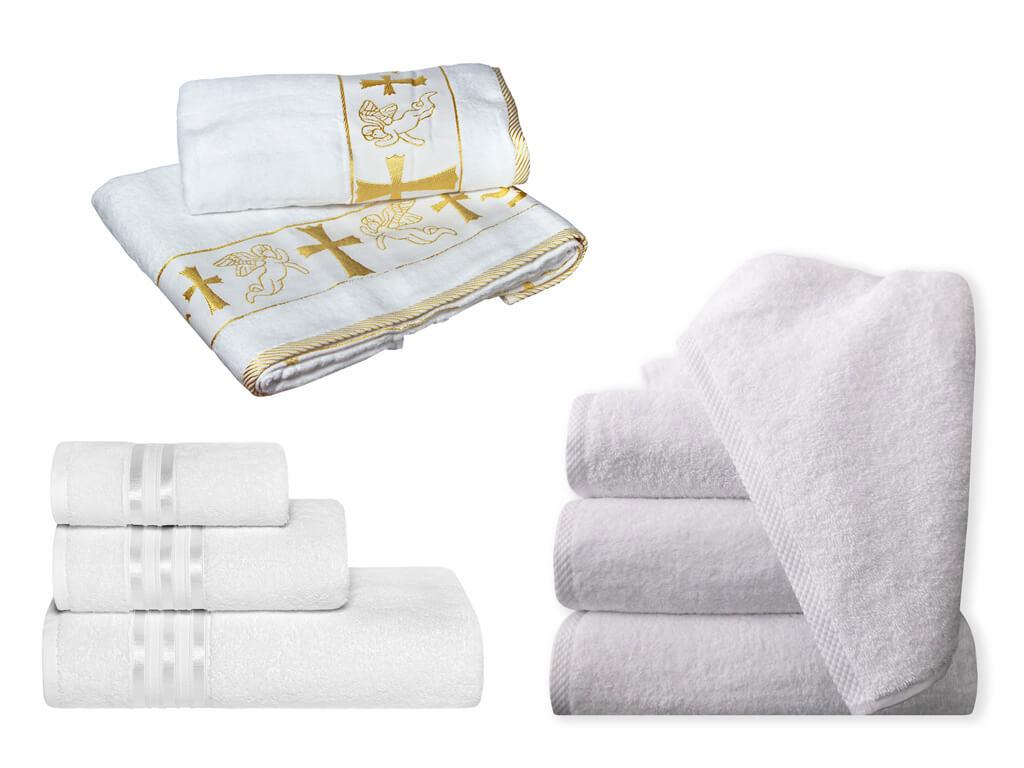 Белые махровые полотенца