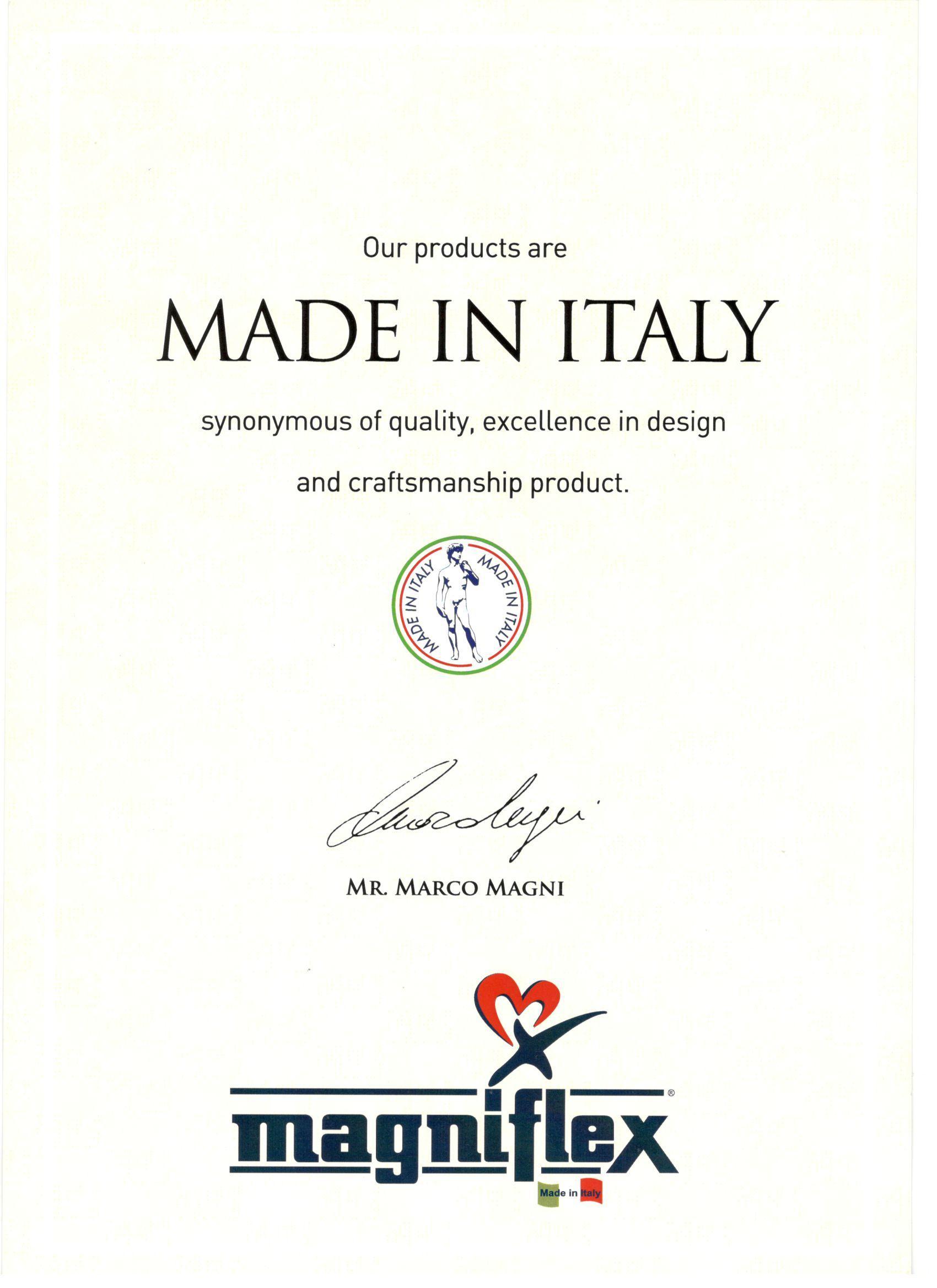 Сертификат итальянского производства Магнифлекс