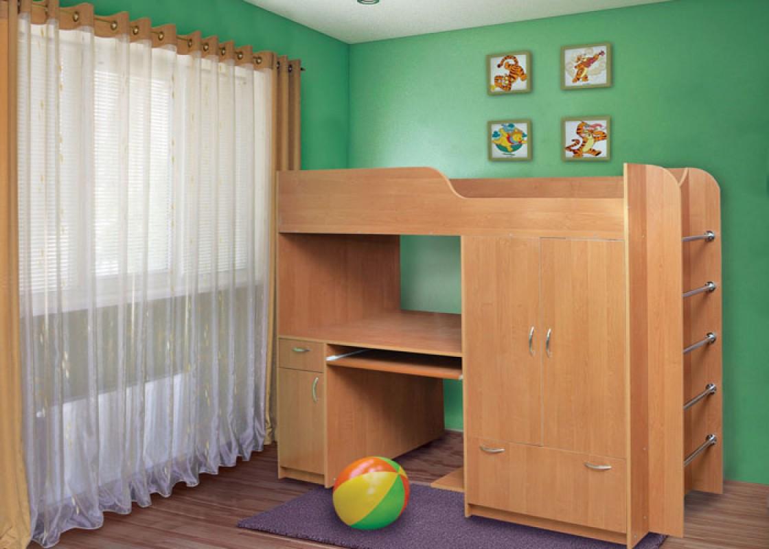 Кровать с местом для компьюетар ишкафчиком