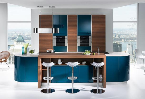 Кухня студия в синих тонах