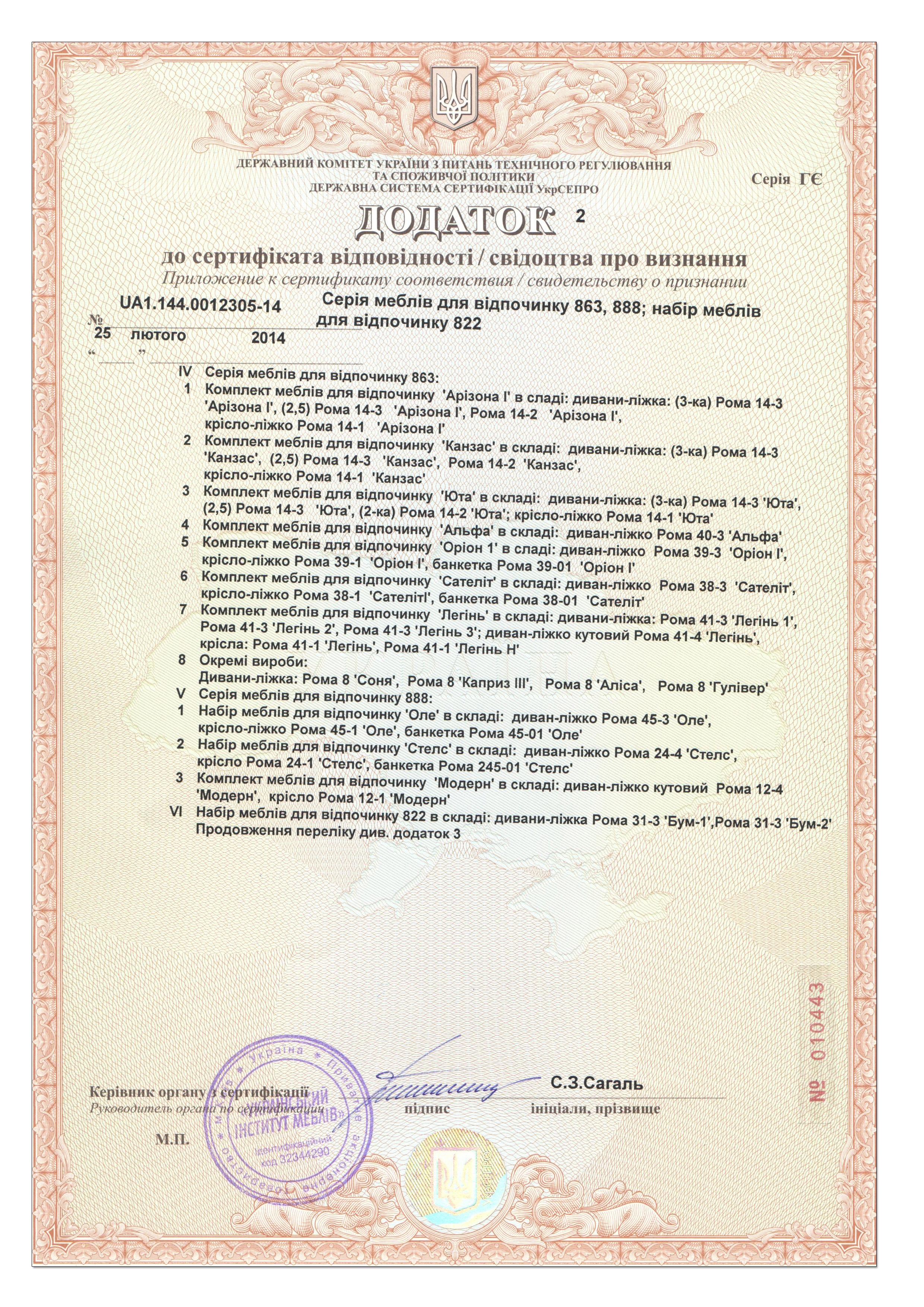 Сертификат соответствия диванов Рата