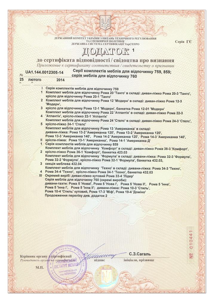 Сертификат соответствия мебели Рата (Ромкар)