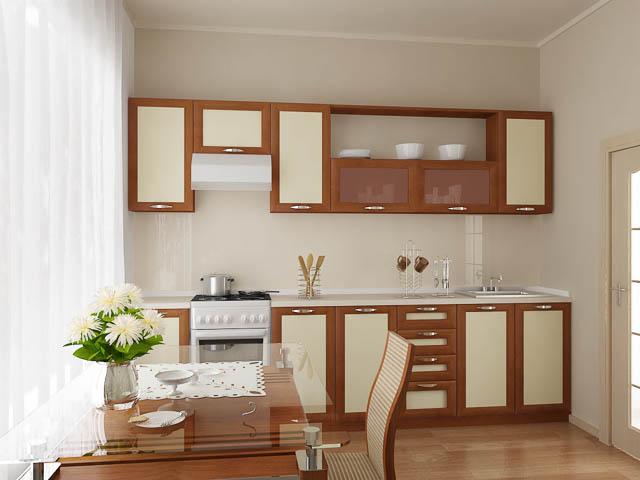 Кухня в коричнево-бежевых тонах со стеклянным столом