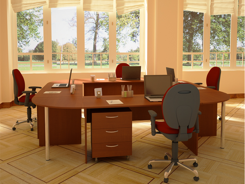 Коньячный цвет в интерьере офиса придает солидности