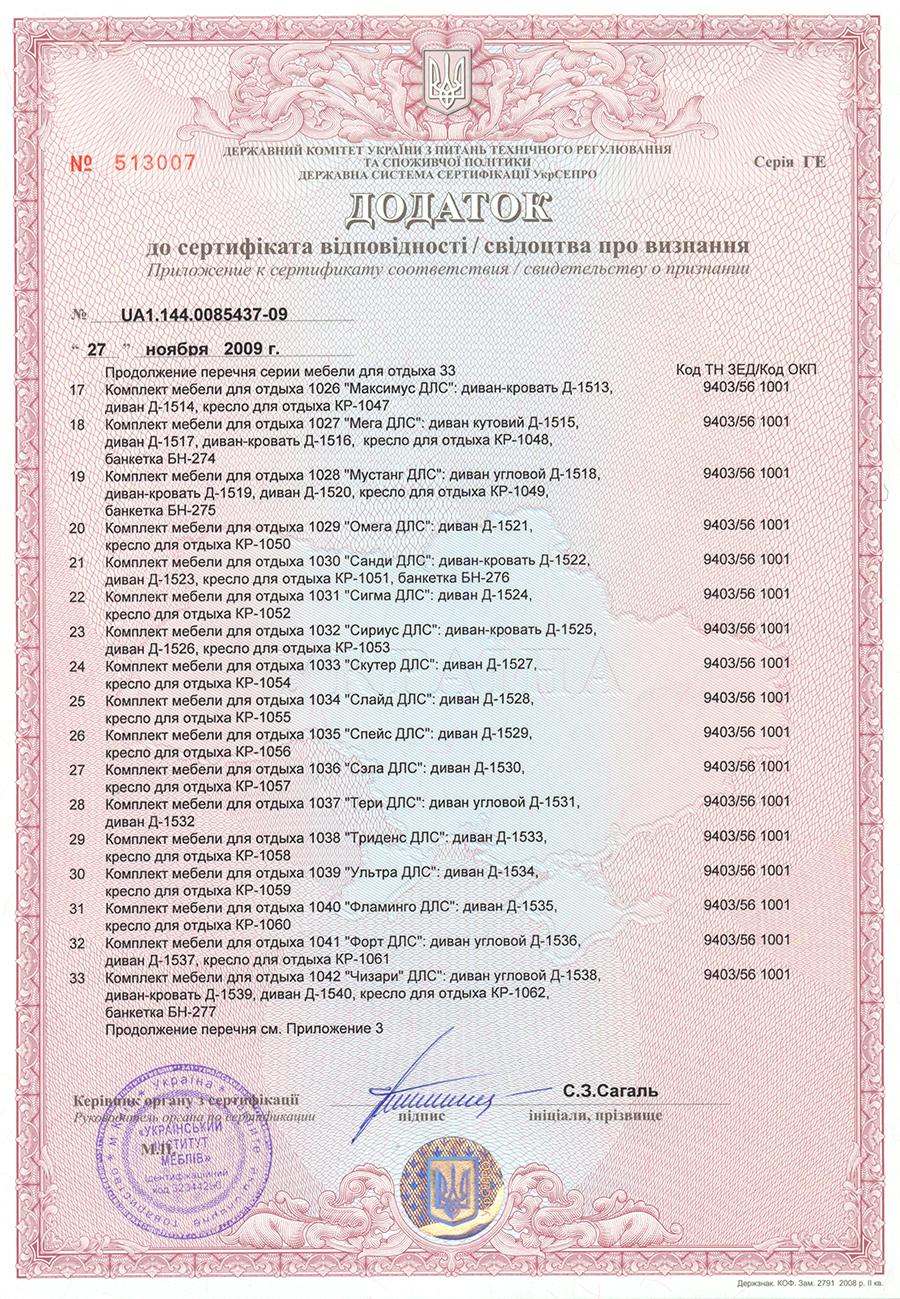 Дополнение к Сертификату