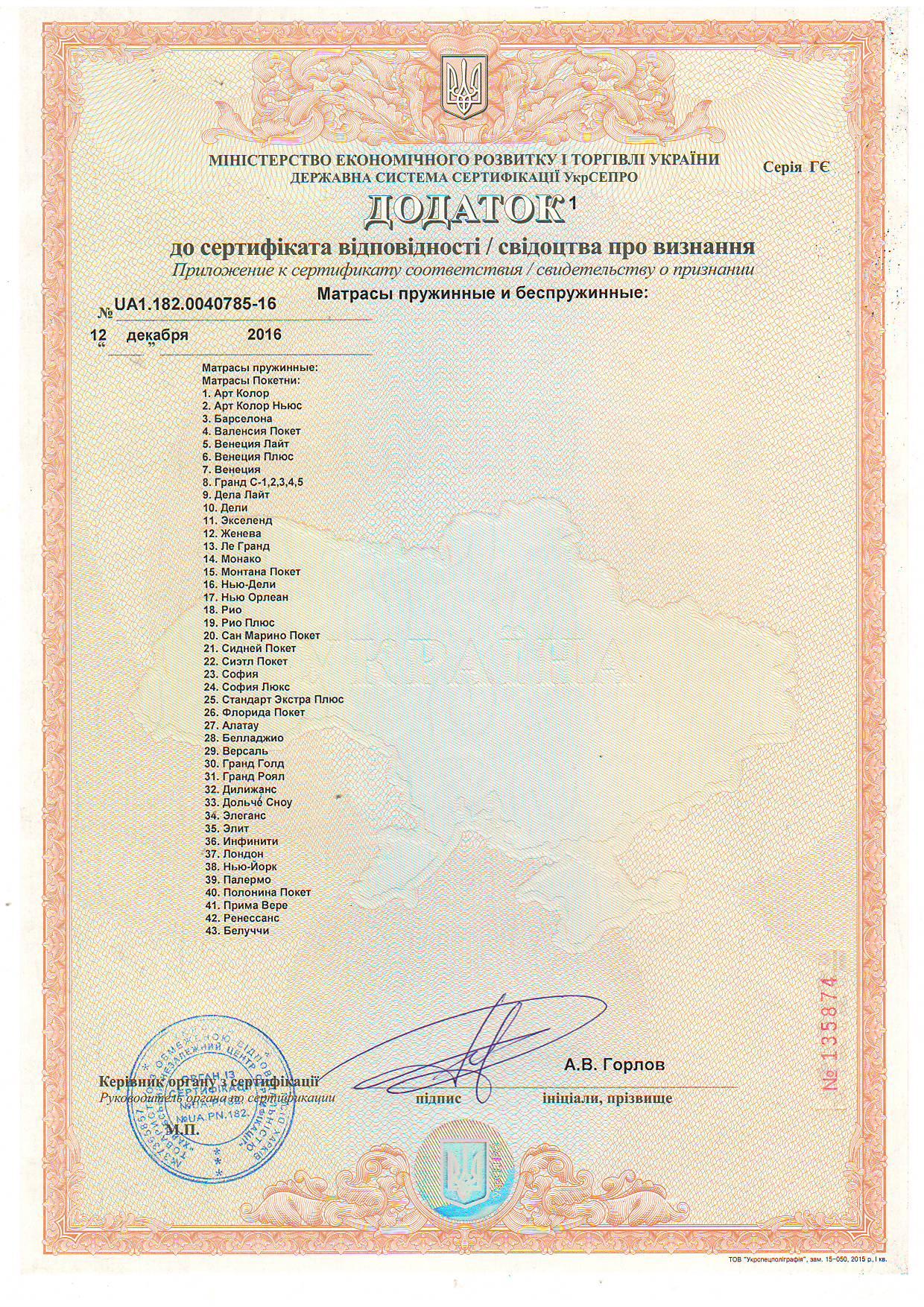 Дополнение 1 к Сертификату соответствия качества матрасов пружинных и беспружинных.