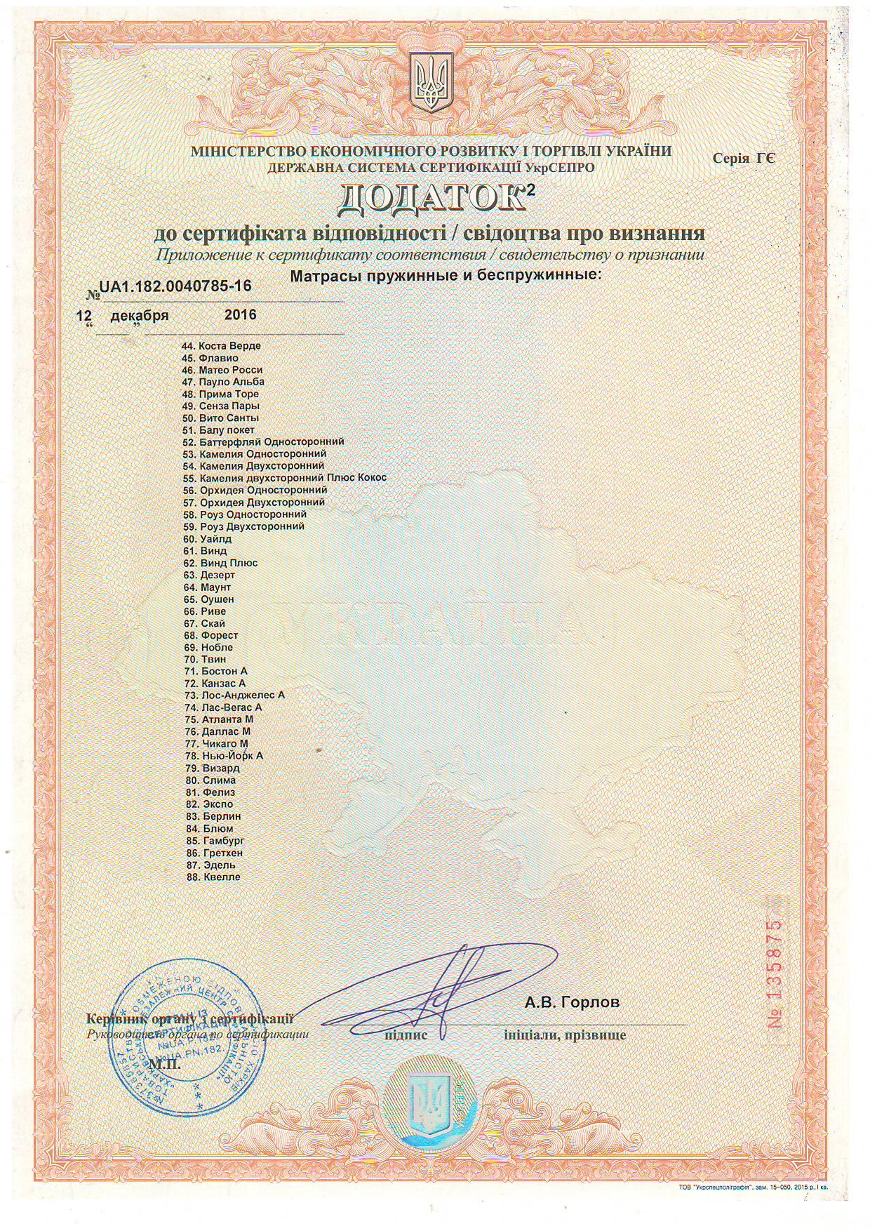 Дополнение 2 к Сертификату соответствия качества матрасов пружинных и беспружинных.