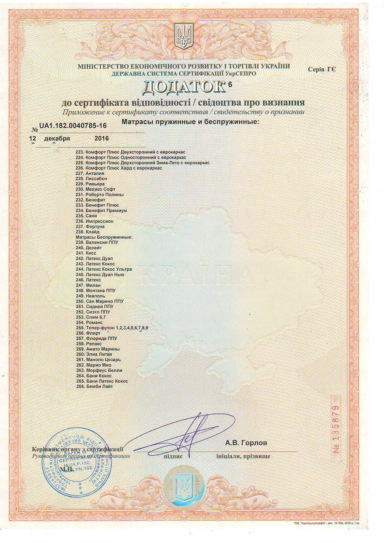 Дополнение 6 к Сертификату соответствия качества матрасов пружинных и беспружинных.