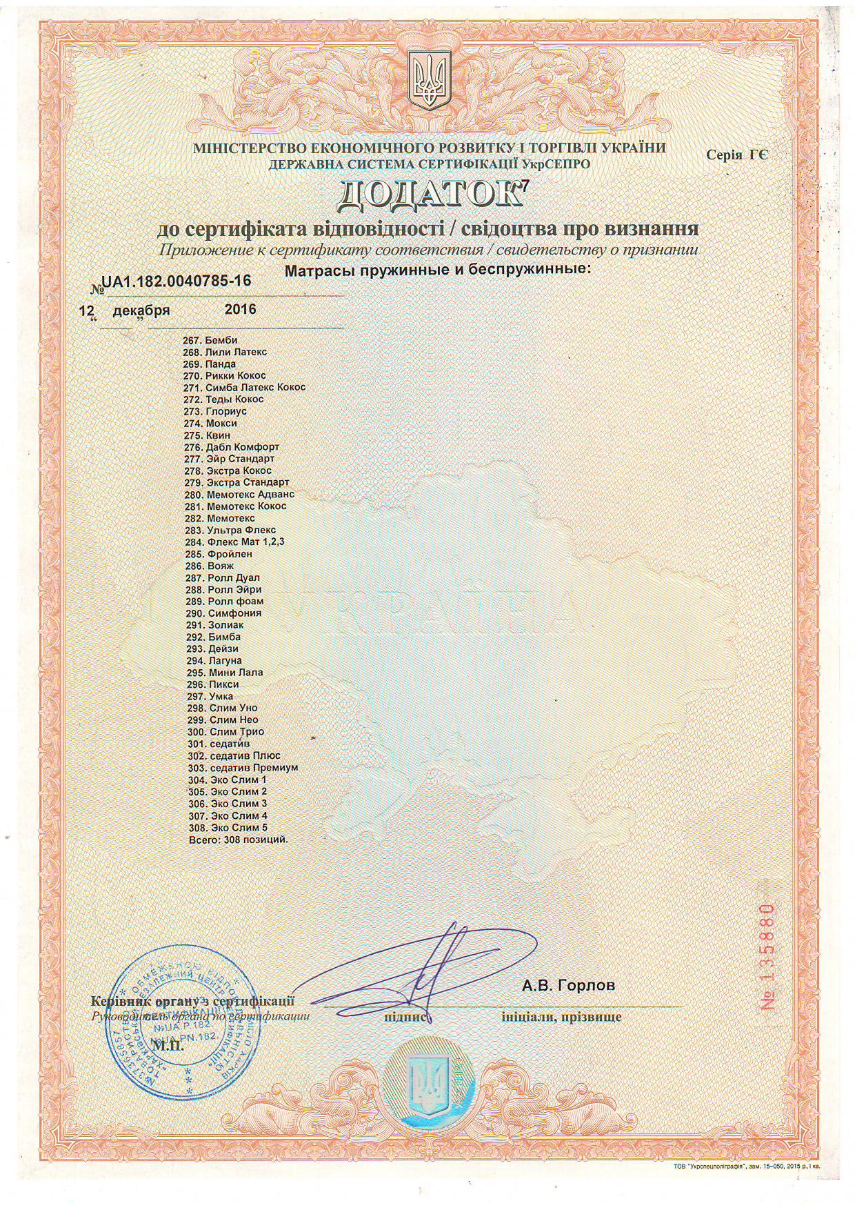 Дополнение 7 к Сертификату соответствия качества матрасов пружинных и беспружинных.