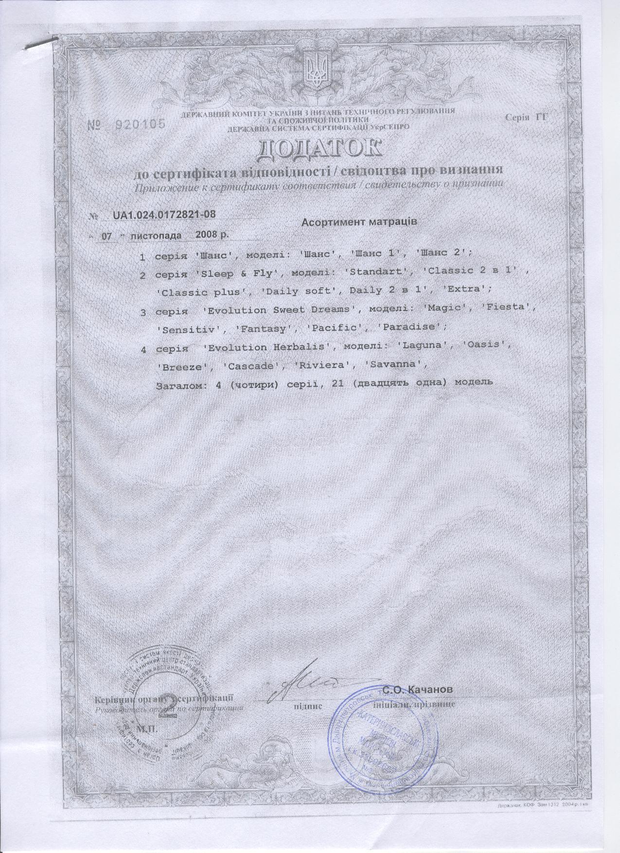 Дополнение 1 к Сертификату на матрасы