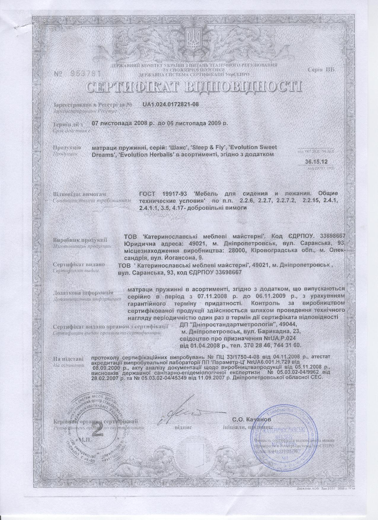 Сертификат соответствия на матрасы пружинные