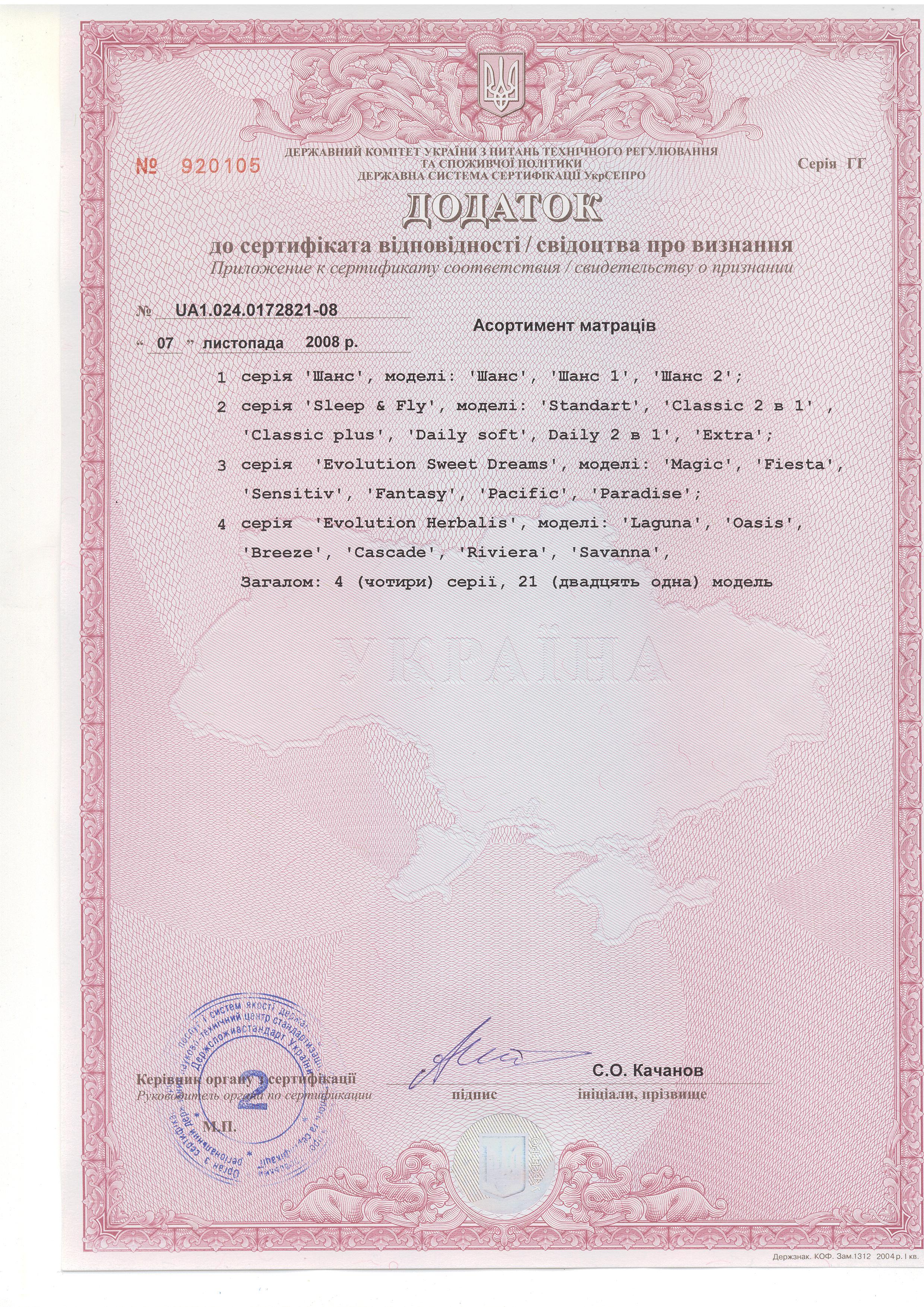 Дополнение 3 к Сертификату соответствия на пружинные матрасы.