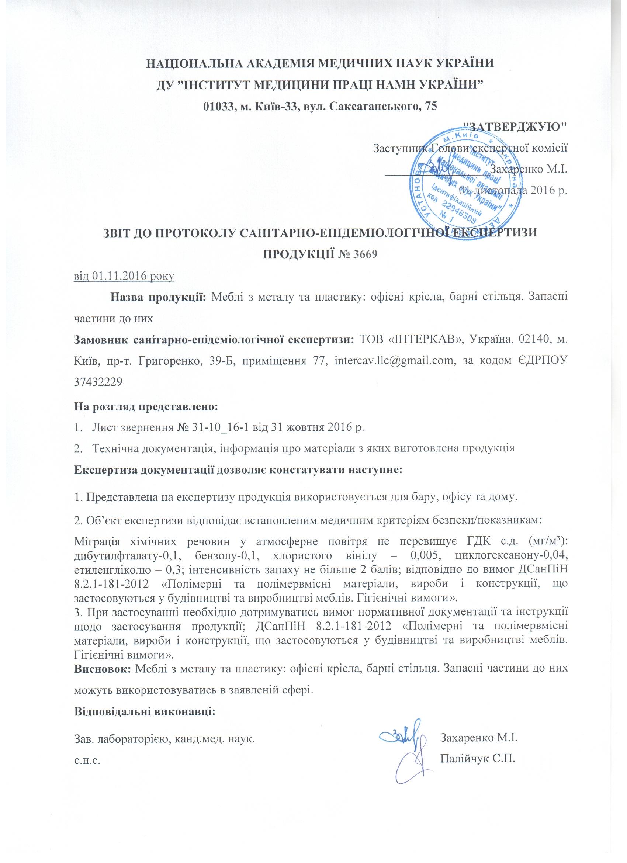 Отчет к протоколу санитарно-гигиенической экспертизы