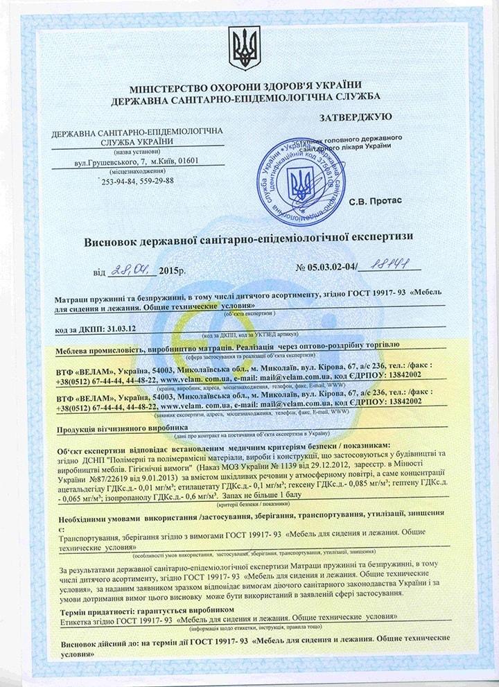 Гигиенический сертификат на матрасы Велам